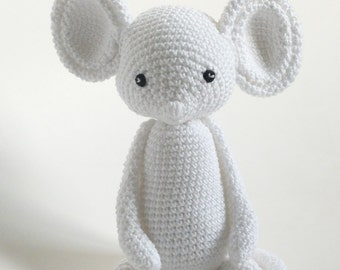 Crochet Mouse Baby Toy, White Mouse, Baby Friendly Material, Handmade Baby Gift.