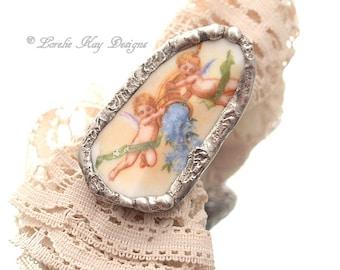 Angel Cherub Statement Ring Broken China Ring Sweet Pink Romantic Soldered China Ring