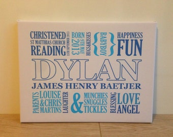 Baby Boy Personalised Christening Canvas