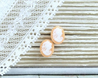 Cameo Earrings Orange Stud Earrings Victorian Earrings Hypoallergenic Cameo Studs Small Earrings