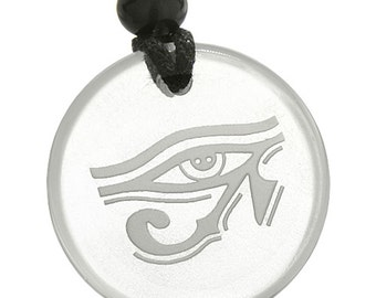 Amulet All Seeing Eye of Horus Egyptian Magic Crystal Quartz Pendant Necklace