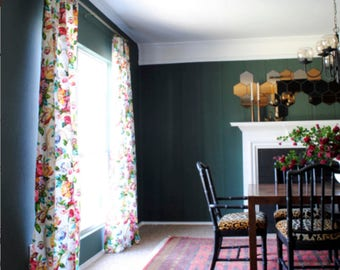 Floral Curtains Boho Flower Drapes Curtains Custom Extra Long Curtain  Panels Pleated Grommet Clip Ring Jacobean