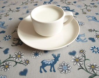 Tablecloth grey blue Deers hearts flowers Scandinavian Design , runner , napkins , curtains , pillows available, great GIFT
