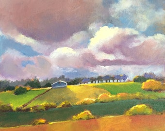 """Original Acrylic Landscape painting-  Cottage in the Morning Sun-  12"""" x 12"""""""