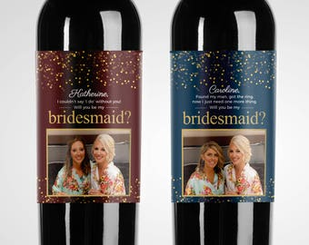 Custom Sparkle Wedding Party Proposal Wine Labels // Choose your colors // Wine Label with Picture // Thank You Label // Will you be my