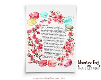 Macaron Day: Paris Letters, April, Spring blooms and a pretty pastel treat