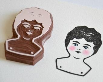 Hand Carved Rubber Stamp / Charlotte Doll Head / Eraser Stamp