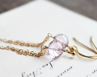 belle of the ball. dangle earrings. (mystic pink quartz. micro-faceted rounds. 14k gold filled. jewelry. made to order)