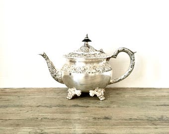 Silver Teapot Ornate / Floral footed Victorian Shabby Chic Teapot / french country farmhouse Silver plate