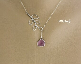 Personalized Lariat Necklace, February Birthstone Necklace, Gemstone Necklace, Amethyst Jewelry, Bridesmaid Jewelry, Wedding Necklace Gift