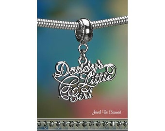 Sterling Silver Daddy's Little Girl Charm or European Style Bracelet