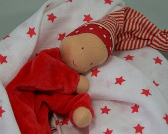 Duo mix white blanket with red stars and Pixie cuddly Waldorf
