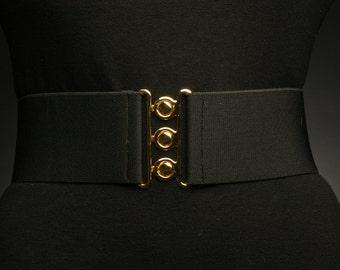 Black elastic belt with Gold Closure