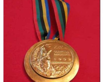 Barcelona 1992 Olympic  'Gold' Medal with Ribbons & Display Stands !!!!