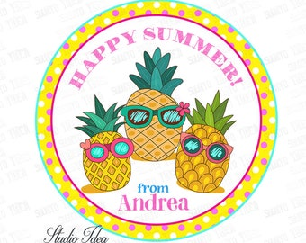 """Custom Happy Summer Printable Tags- 2.5"""" Funny Pineapples Summer Tag- Personalized Circle 2.5"""" Tags-Digital file-YOU PRINT"""