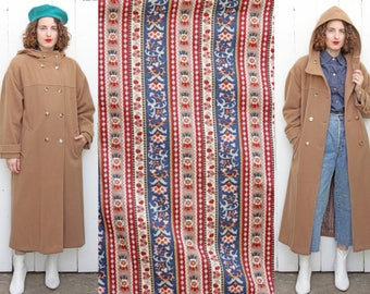 Vintage Wool Coat | Long Camel Lambswool Double Breasted Coat with Hood and Printed Cotton Lining | XL Extra Large