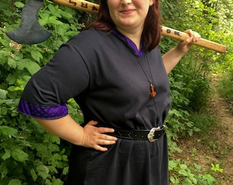 Viking Tunic - V Neckline - Viking Garb - Viking Clothing - Viking Costume - Your Choice Size, Color, Embroidery, & Trim - Made to Order