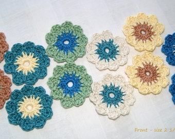 DIY Project Appliques - Hand Crocheted Flower Accessories - Fall Floral Accents - Scrapbook Pages - Cardmaking Supplies - Pillows
