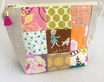 Patchwork Zipper Pouch, Make-up Bag, Gift for Her