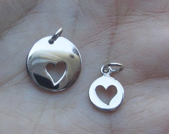 Sterling Silver Charm with Heart Cut/out(one charm)
