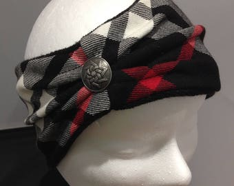 Plaid button headband