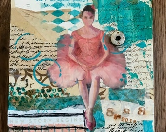 Original Mixed Media Art, Original Collage Art, Layerd Art, Ballerina