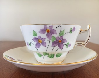 Vintage Bone China Woodlands Made in England Purple Violets Tea Cup and Saucer
