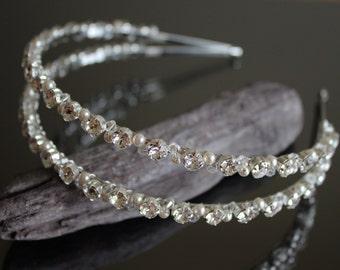 Swarovski Crystal and Pearl Headband / Bridal Tiara / Bridal Hair Accessories / Crystal Bridal Headband / Wedding Headband / Diamante Tiara