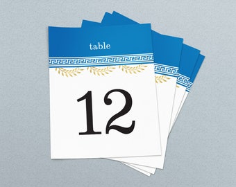 Greek Theme Wedding & Event Table Numbers, Printable Table Numbers 1-30, Instant Download, Ready to print
