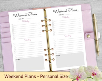 Weekend Planner Printable Personal Size, Weekly Planner Inserts, Weekly Organizer, Week Planner Page, Weekly To Do List