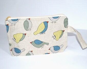 Wristlet pouch - Birds - Material Natural linen