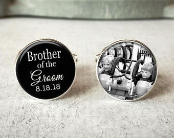 Brother Of The Groom Cufflinks, Personalized Cufflinks, Wedding Cuff links, Custom Cufflinks, Photo Cufflinks, Wedding Keepsake