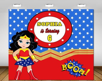 Wonder Woman Backdrop, Wonder Woman Party Decoration,  Wonder Woman Birthday Party, Backdrop, Poster, Sign, Banner, Dessert Table, 72x60''