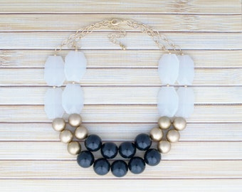 Gold Statement Fashion Necklace Jewelry, Color Block Chunky Black & White Layer Bead Neutral Necklace, Gift for Bridesmaid, Gift Under 30