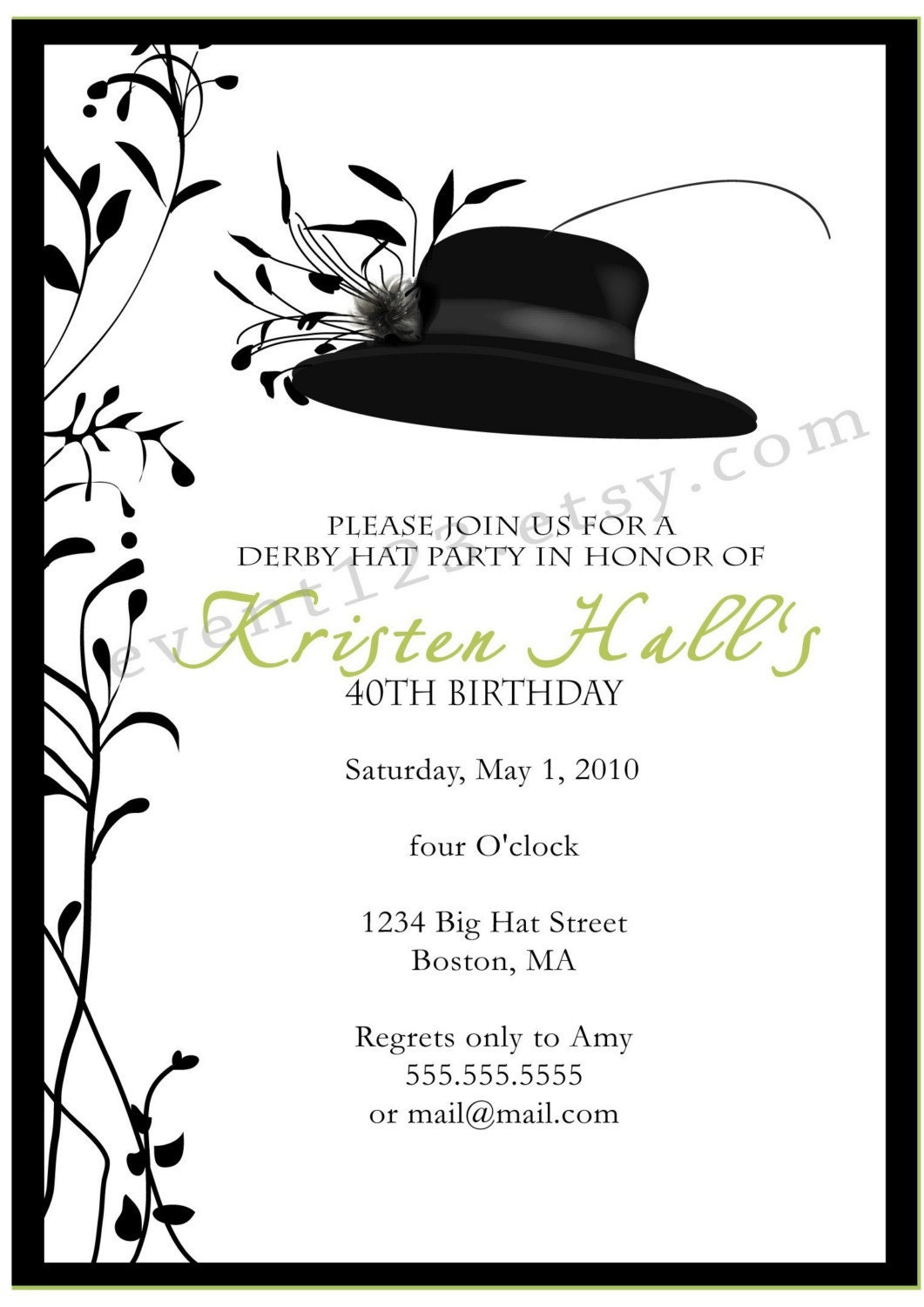 Kentucky Derby Party Invitation // Horse Races Party // Red