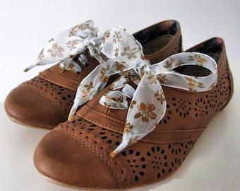"THE SHOELACES SHOP-Floral Aqua Ribbon Shoelaces, Ribbon Shoe Laces, Blue Shoelaces, Brown Shoelaces, Organza Shoelaces, ""That Old Feeling"""