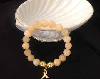 1 of a KIND Two Tone Yellow Jade and Gold Plated Bead Childhood Cancer/Sarcoma Awareness Bracelet