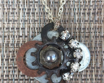 Assemblage jewelry, handmade jewelry, industrial chic, repurposed jewelry, steampunk pendant, assemblage necklace, upcycled hardware jewelry