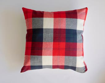 Red Mammoth Flannel Throw Pillow - Throw Pillow Cover - Plaid Throw Pillow - 18x18 throw pillow cover - rustic home decor - camping decor
