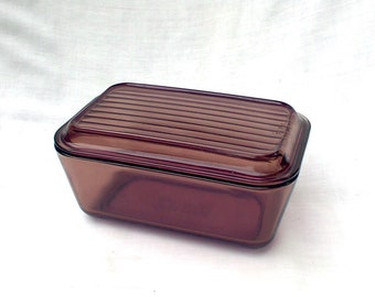 Pyrex Brown Amber 502 B Refrigerator Dish and Lid Glass