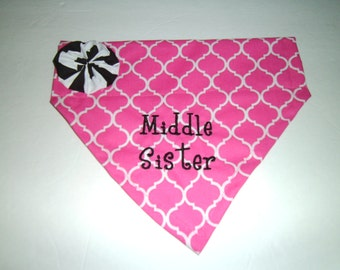 Dog Bandana, Middle Sister, Gender Reveal, Pregnancy Announcement, Dog Bandana, Over the Collar, New Baby, Baby Annoucement, Photo shoot