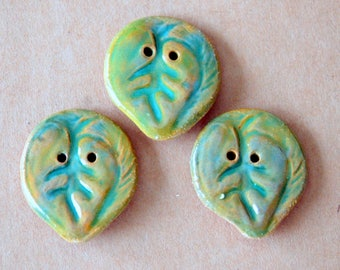 3 Big and Bold Handmade Ceramic Leaf Buttons - Light Green on Brown Stoneware Leaves in Bright Spring Green -  Woodland Focal Buttons