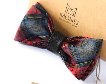 Grey Bow Tie, Red Christmas Bowtie, Tartan Bow Tie, Bowties, Men Bow Tie, Men Birthday Gift, Wedding Bowtie, Groom Bow Tie, Groomsmen Bowtie