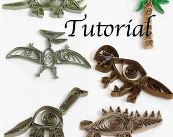 Tutorial for Paper Quilled Dinosaurs PDF for Decorative Pieces and Scrapbook Embellishments