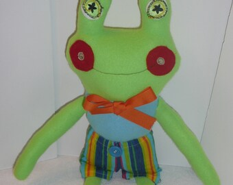 Frog Softie, Frog Plush, Frog Stuffed Animal, Toy Frogs, Froggie Dolls, Frogs with Clothes, Gift for Child, Kids Room Decor