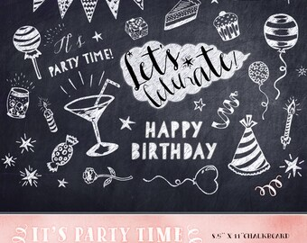 Birthday Clipart, Chalkboard Birthday Clipart, party invitation clipart, birthday chalkboard design elements, party overlays, birthday party