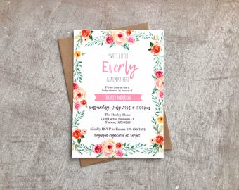 Floral Watercolor Baby Shower Invitation | DIGITAL FILE | 4x6 or 5x7 File