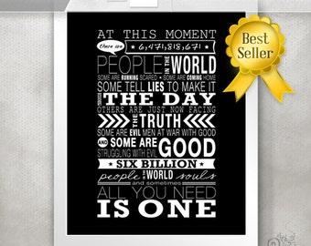 One Tree Hill Gift Ideas / OTH Quote Print / Peyton / 6 billion people / Inspirational Quote / Black and White // 5x7 / 8x10 / 11x14