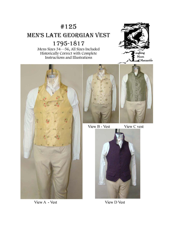 Lm125 1795 1817 mens georgian era vest sewing pattern description lm125 sewing pattern jeuxipadfo Images