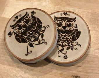 Woodburned Owl Coasters